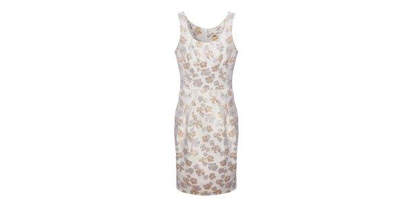 Dámske krémovo-béžové brokátové kvetované šaty Uttam Boutique