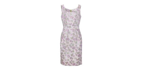 Dámske ružové brokátové kvetované šaty Uttam Boutique