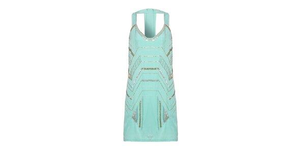 Dámske mintové šaty Uttam Boutique s gorálkami