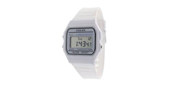 Plastové biele digitálne hodinky COOLIFE