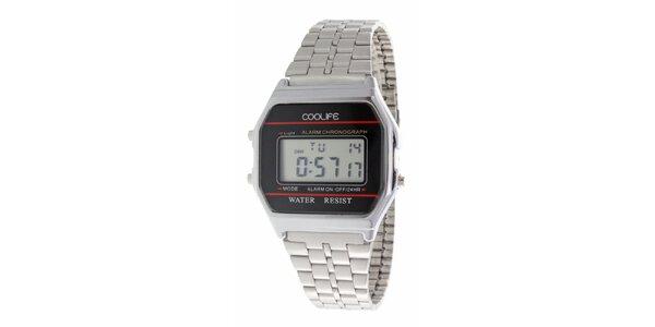 Oceľové digitálne hodinky COOLIFE s červenou linkou