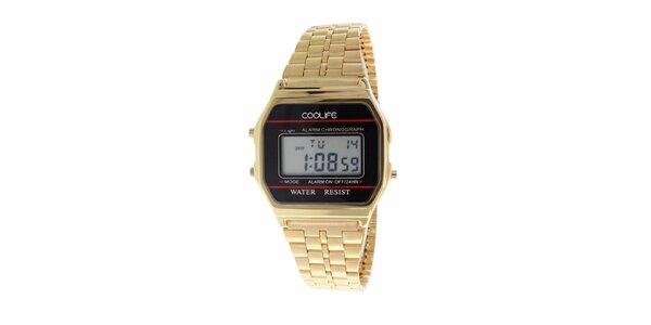 Oceľové zlaté digitálne hodinky COOLIFE s červenou linkou