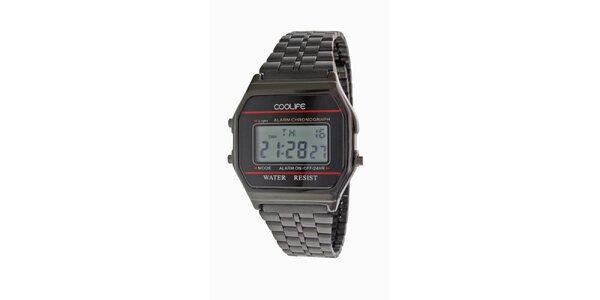 Oceľové čierne digitálne hodinky COOLIFE s červenou linkou