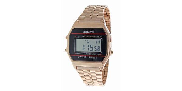 Oceľové bronzové digitálne hodinky COOLIFE s červenou linkou
