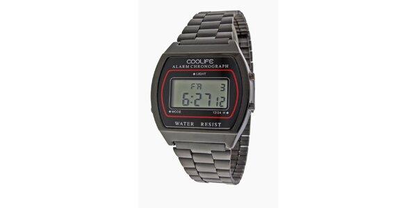 Oceľové čierne športové digitálne hodinky COOLIFE