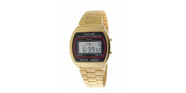 Oceľové zlaté športové digitálne hodinky COOLIFE