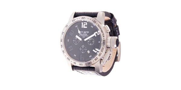 Pánske oceľové hodinky Jet Set s čiernym koženým remienkom