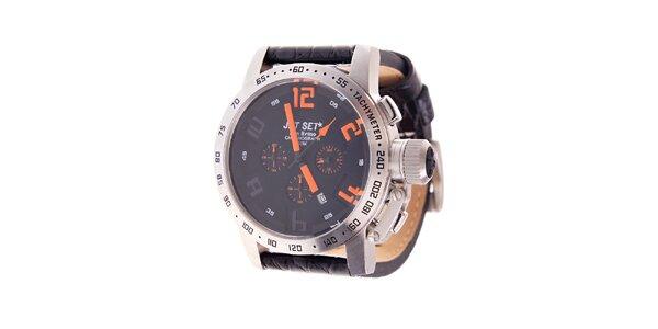 Pánske oceľové hodinky Jet Set s čiernym koženým remienkom a oranžovými indexami