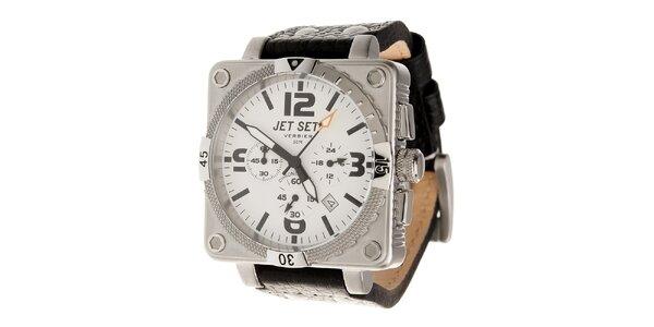 Ocelové hodinky Jet Set s čiernym koženým remienkom