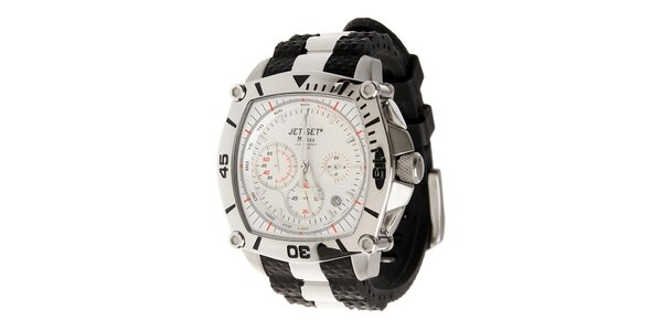 Ocelové hodinky Jet Set s čiernymi detailami