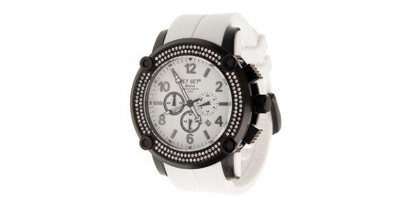 Čierne ocelové hodinky Jet Set s kryštálmi a bielym plastovým remienkom