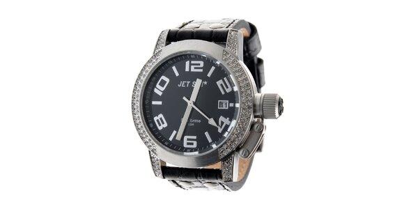 Dámske oceľové hodinky Jet Set s čiernym koženým remienkom a kamienkami