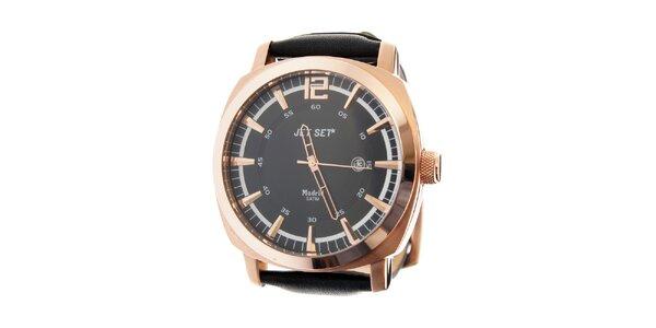 Pánske zlaté hodinky Jet Set s čiernym koženým remienkom