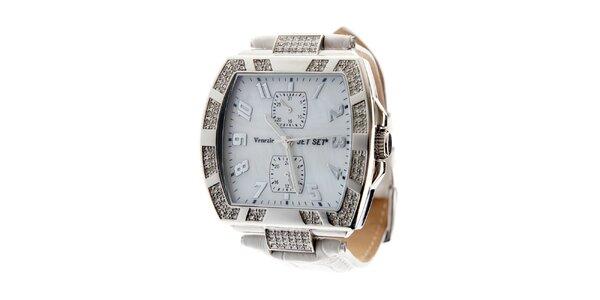 Dámske ocelové hodinky Jet Set s kamienkami a bielym koženým remienkom