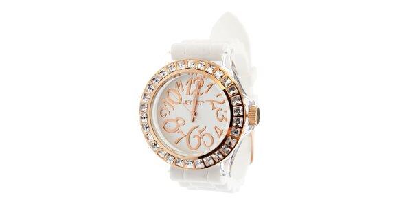 Dámske zlaté hodinky Jet Set s bielym silikonovým pásikom a kamienkami