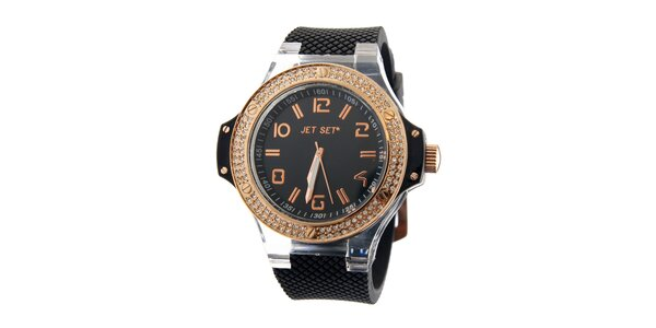Dámske zlaté hodinky Jet Set s čiernym silikónovým remienkom a kamienkami