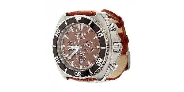 Pánske ocelové hodinky Jet Set s hnedým koženým remienkom