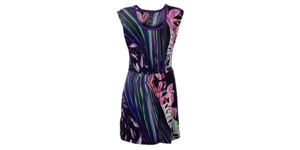Dámske tmavo fialové šaty Custo Barcelona s farebnou potlačou