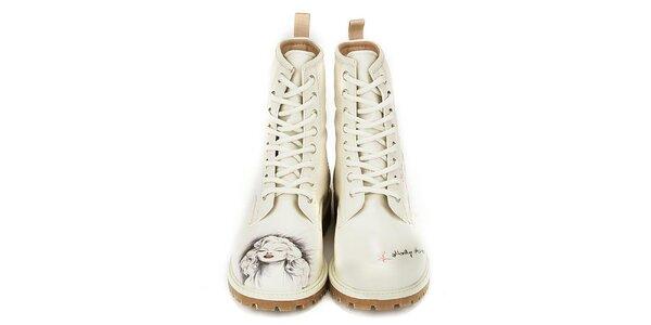Dámske krémovo biele členkové topánky s Marilyn Monroe Dogo