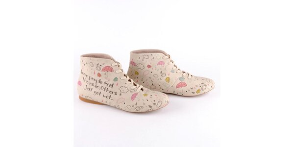 Dámske krémové topánky s farebnou potlačou Dogo