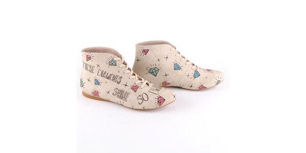 Dámske krémové topánky s potlačou diamantov Dogo