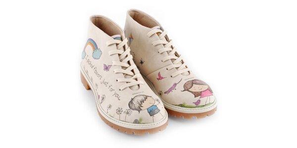 Dámske kotníkové topánky so zamilovanou dvojicou Dogo