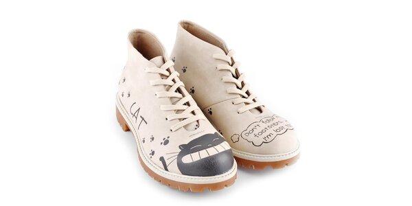 Dámske kotníkové topánky s vysmiatou mačkou Dogo