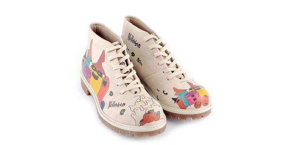 Dámske kotníkové topánky s halloweenskymi príšerkami Dogo