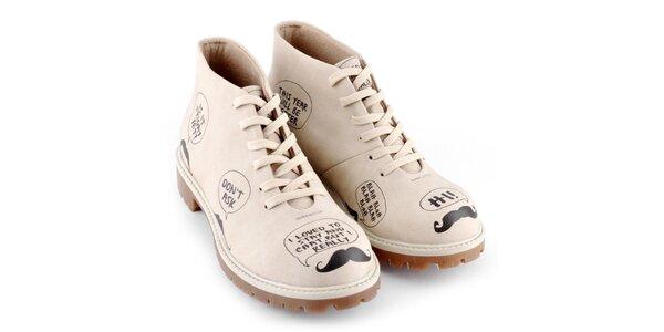 Dámske kotníkové topánky s potlačou fúzov Dogo