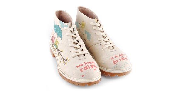 Dámske kotníkové topánky so sovičkami Dogo