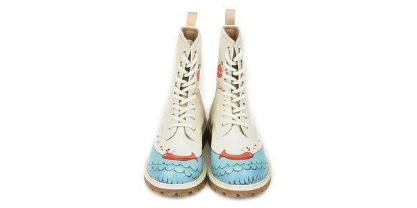 Dámske šnurovacie topánky so zamilovanou veľrybou Dogo