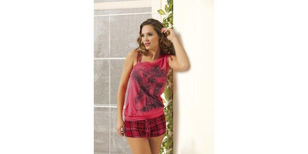 Dámske pyžamo - ružové tričko a kockované kraťase Maranda