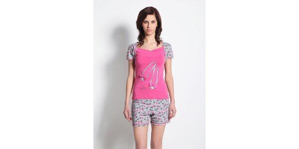 Dámske pyžamo - šedo-ružové tričko a šedé kraťase s bodkami Maranda