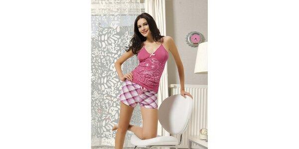 Dámske pyžamo - ružové tielko a kockované kraťase Maranda
