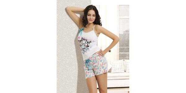 Dámske pyžamo - biele tielko a kvetované kraťase Maranda