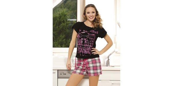 Dámske pyžamo - čierne tričko a ružovo kockované kraťase Maranda