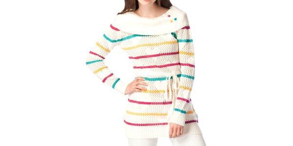 Dámsky krémovo biely sveter s prúžkami ARS Collection