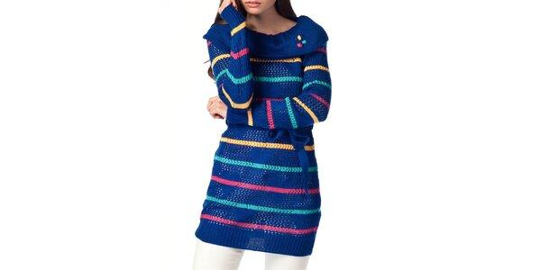 Dámsky modrý sveter s prúžkami ARS Collection
