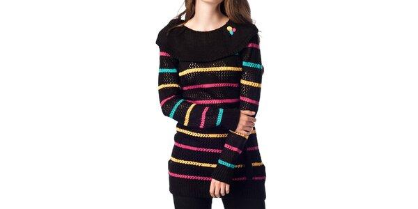 Dámsky čierny sveter s prúžkami ARS Collection