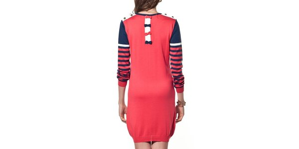 Dámsky dlhý červeno-modrý sveter ARS Collection