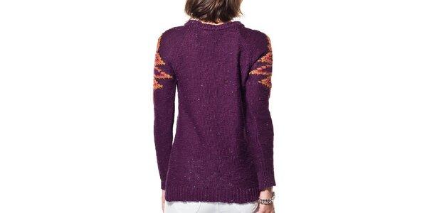 Dámsky fialový sveter s ornamentom ARS Collection