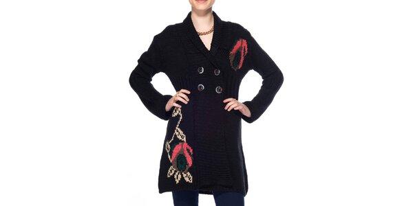 Dámsky dlhý čierny kardigan ARS Collection