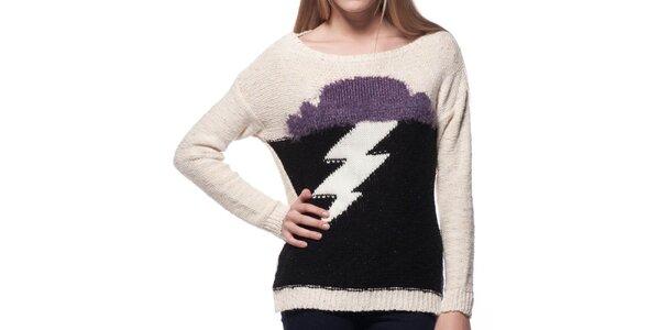 Dámsky béžový sveter s motívom blesku ARS Collection