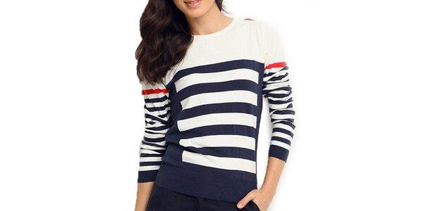 Dámsky bielo-modrý sveter s prúžkami ARS Collection