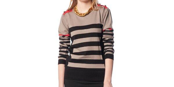 Dámsky béžovo-čierny sveter s prúžkami ARS Collection