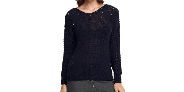 Dámsky tmavo modrý sveter s transparentným chrbtom ARS Collection