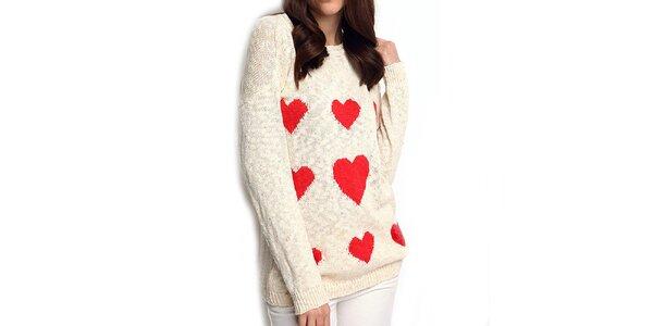 Dámsky krémový sveter so srdiečkami ARS Collection