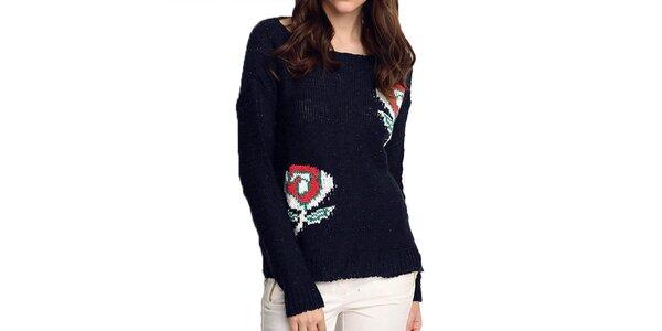Dámsky tmavo modrý sveter s ružami ARS Collection