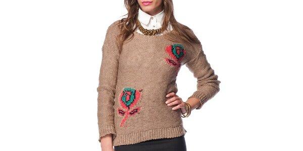 Dámsky hnedý sveter s ružami ARS Collection
