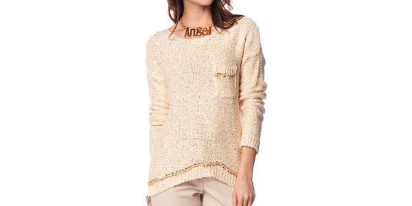 Dámsky krémový sveter s prestrihom na chrbte ARS Collection